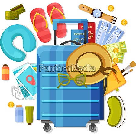 suitcase composition of flat images with