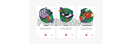 isometric online casino vertical banners set