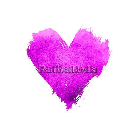 purple watercolor painted heart shape on