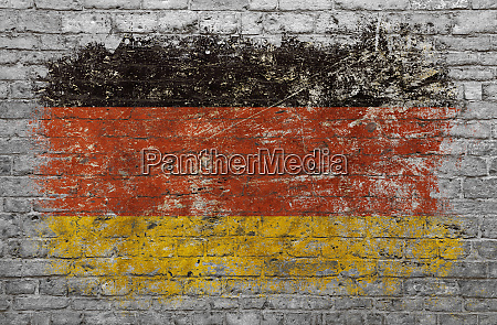 flag of germany painted on brick