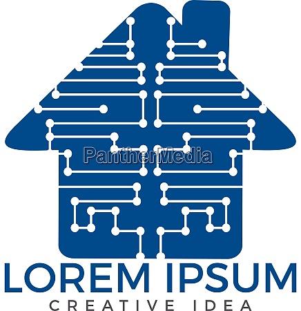 home technology logo template circuit board