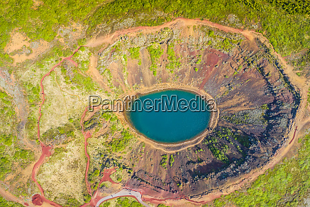 kerid crater lake in the golden