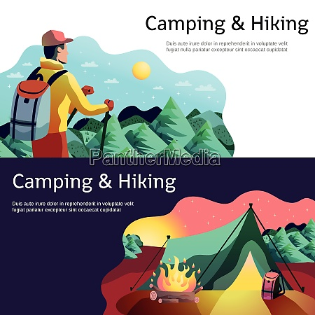 hiking camping horizontal abstract colorful banners