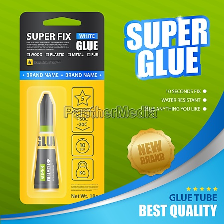 super fix white glue realistic poster