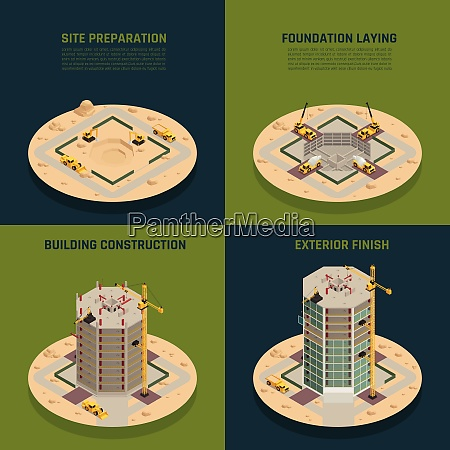 skyscraper construction process 4 isometric icons