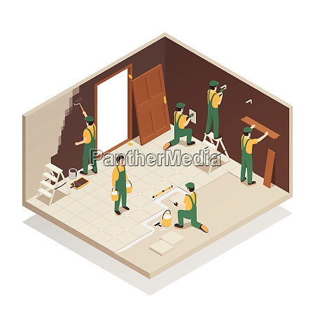 home renovation remodeling repair isometric composition