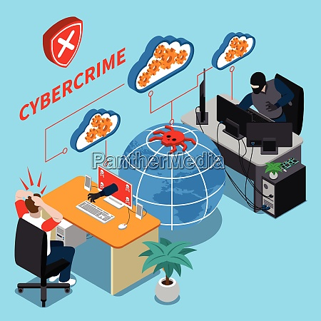 cyber crime isometric concept with data