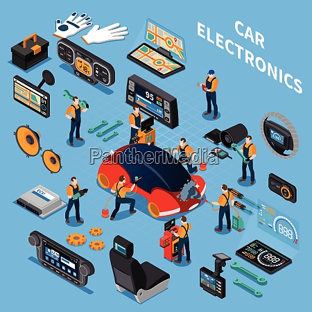 car electronics and service concept with