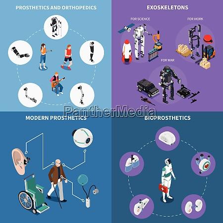 exoskeleton bionic prosthetics concept icons set