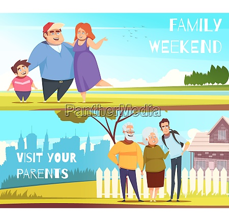 families set of horizontal banners with