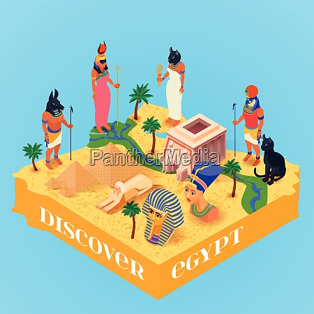 discover egypt isometric poster with ancient