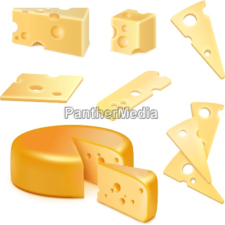 cheese with holes pieces and slices