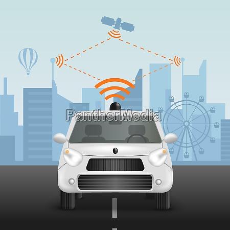 autonomous car realistic composition with scheme