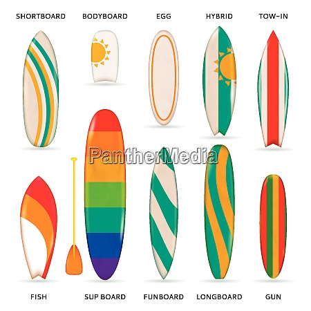 surfboards colored realistic collection of different