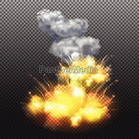 flaming explosion composition on transparent background