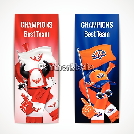 fan sport vertical banners set with