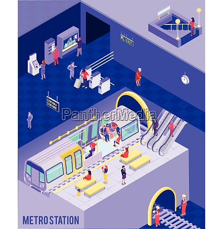 colorful isometric poster with people at