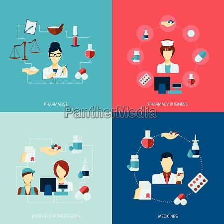 pharmacist icons flat set with pharmacy