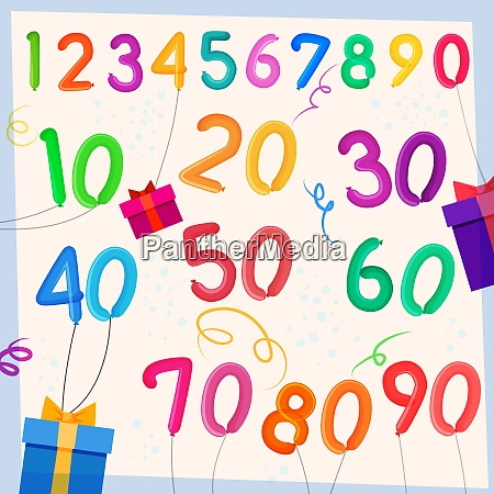 anniversary celebration balloons paper background with