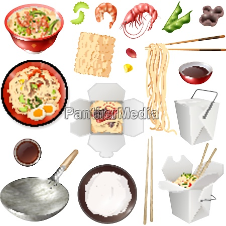 set of realistic chinese noodles with