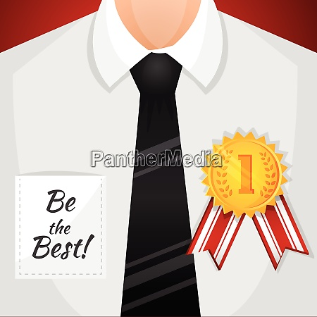 businessman winner with victory seal competition
