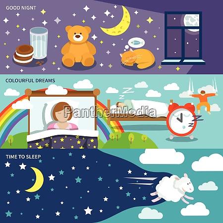 sleep time banners set with good