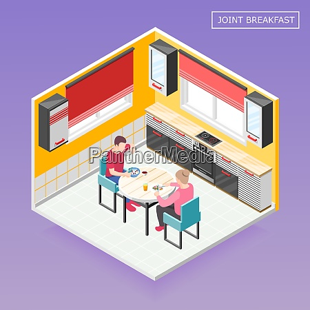 daily routine isometric composition with male