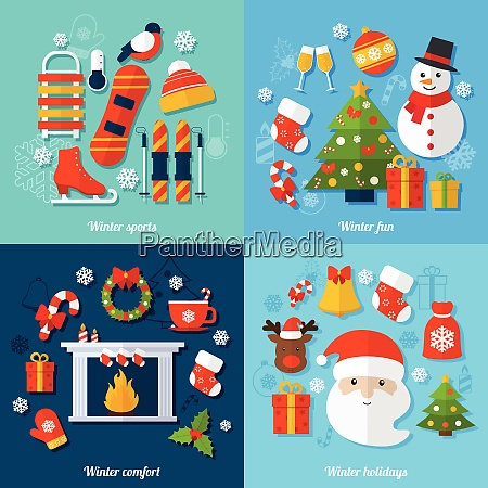 winter and christmas flat set with