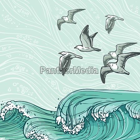 waves flowing water sketch sea ocean