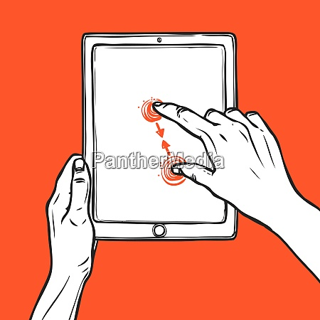hand holding tablet portable device and