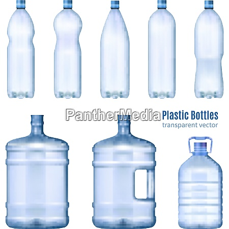 plastic water bottles realistic set of