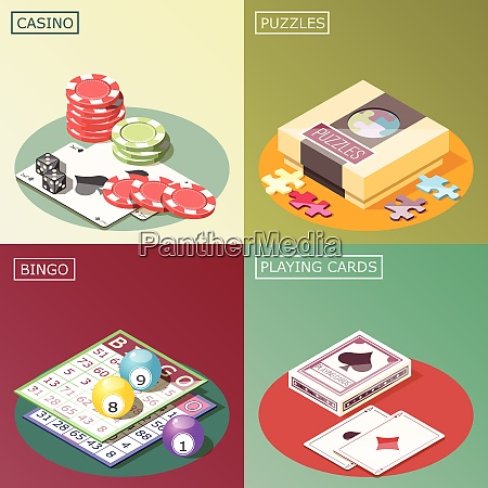 board games isometric design concept with