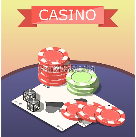 board games of casino isometric composition