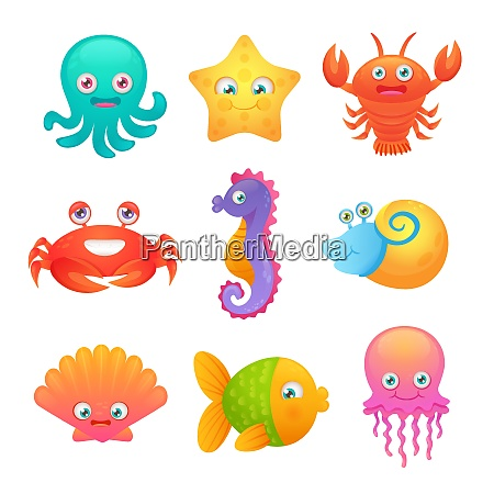 cute sea life creatures cartoon animals