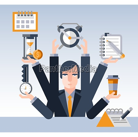 time management concept with multitasking businessman