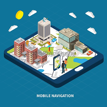 mobile navigation concept with city and