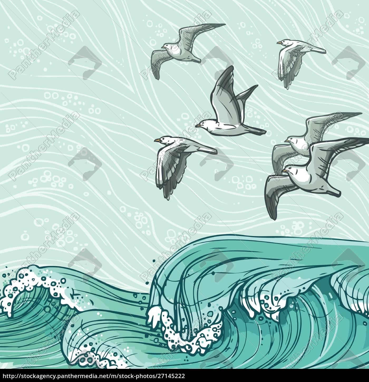 waves, flowing, water, sketch, sea, ocean - 27145222