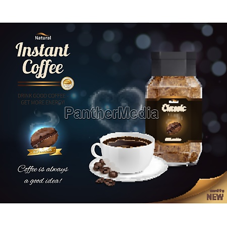 instant coffee advertisement realistic composition with