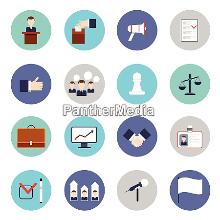 elections and voting flat icons set