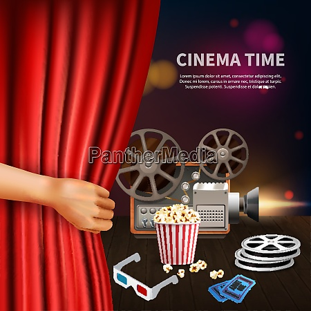 realistic cinema time background with 3d