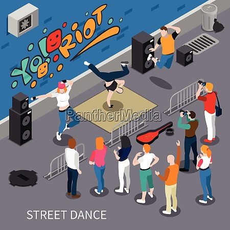 performers of street dance on graffiti