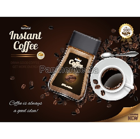 instant coffee realistic poster with cup