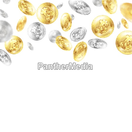 crypto currency flying golden and silver