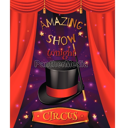 circus poster composition with realistic 3d