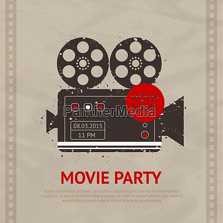 retro movie cinema production poster with