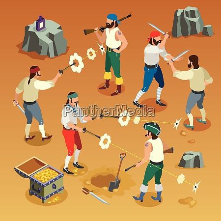 pirates game isometric composition with men