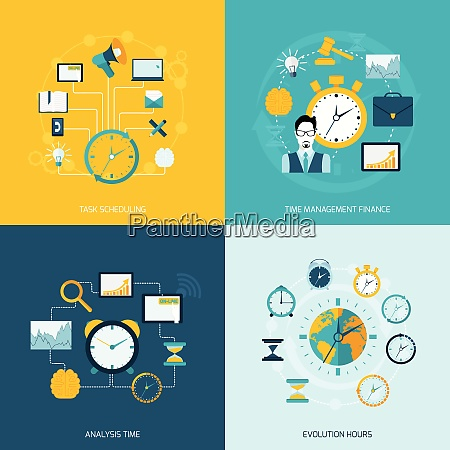 time management flat icons set with