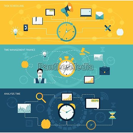 time management flat banner set with