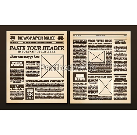 old vintage newspaper 2 realistic pages