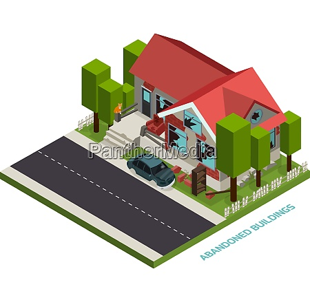 abandoned buildings isometric design concept representing